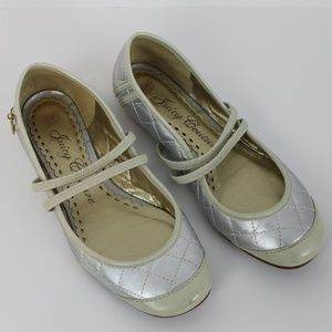 Juicy Couture Silver & Cream Ballet Flats